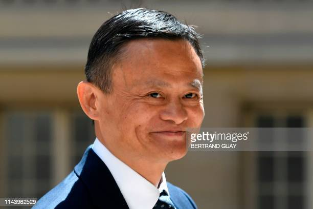 """Jack Ma, co-founder and executive chair of the Alibaba Group, arrives for the """"Tech For Good"""" meetup at Hotel Marigny in Paris on May 15 held to..."""