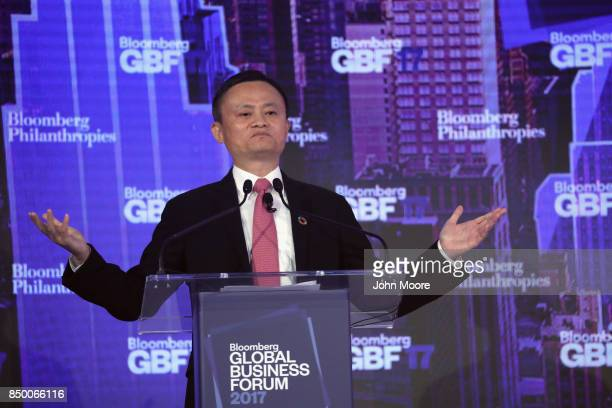 Jack Ma executive chairman of Alibaba Group speaks at the Bloomberg Global Business Forum on September 20 2017 in New York City Heads of state and...