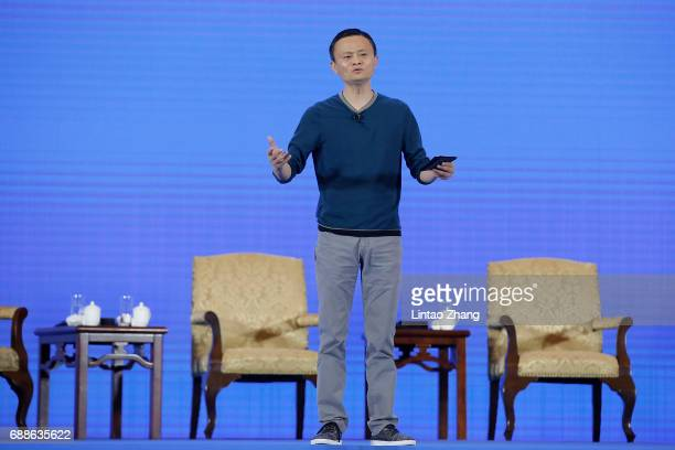 Jack Ma Executive Chairman of Alibaba Group speaks during the 2017 China International Big Data Industry Expo at Guiyang International EcoConference...