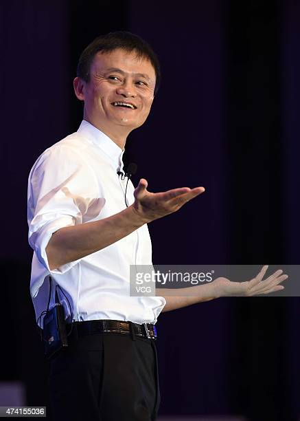 Jack Ma Executive Chairman of Alibaba Group speaks during the Global Women Entrepreneurs Conference on May 20 2015 in Hangzhou Zhejiang province of...