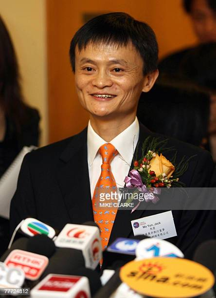 Jack Ma founder and chairman of Alibabacom speaks to the press at the Hong Kong Stock Exchange 06 November 2007 Shares in Chinese online marketplace...