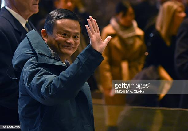 Jack Ma, founder and executive chairman of Alibaba Group, arrives at Trump Tower for meetings with President-elect Donald Trump on January 9, 2017 in...