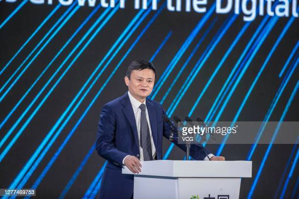 Jack Ma, founder of Alibaba Group, speaks during 2020 China Green Companies Summit on September 29, 2020 in Haikou, Hainan Province of China.