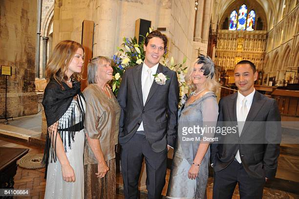 Jack MacDonald and family attend the wedding of Leah Wood and Jack MacDonald at Southwark Cathedral on June 21 2008 in London England