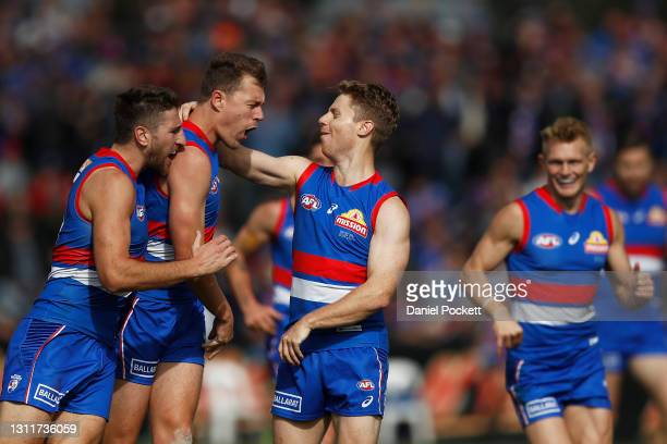 Jack Macrae of the Bulldogs celebrates a goal during the round four AFL match between the Western Bulldogs and the Brisbane Lions at Mars Stadium on...