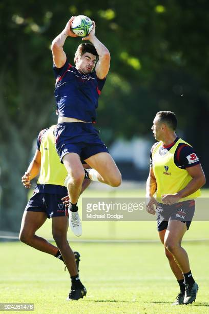 Jack Maddocks catches the ball during a Melbourne Rebels Super Rugby training session at Gosch's Paddock on February 26 2018 in Melbourne Australia