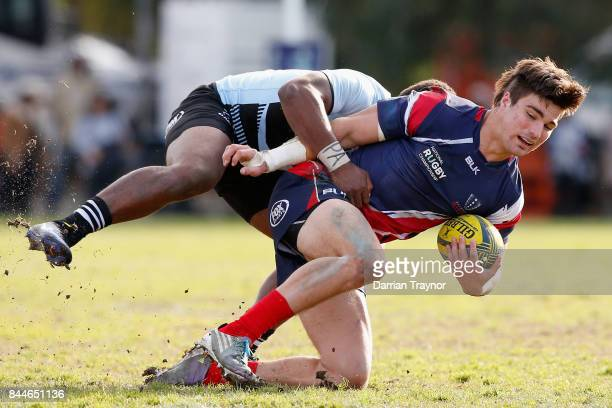 Jack Maddocks of Melbourne is tackled during the round two NRC match between Melbourne and Fiji at Harlequins Rugby Club on September 9 2017 in...
