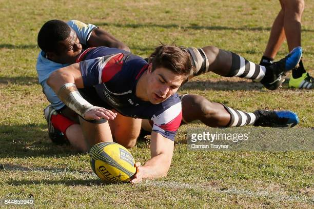 Jack Maddocks of Melbourne score a try during the round two NRC match between Melbourne and Fiji at Harlequins Rugby Club on September 9 2017 in...