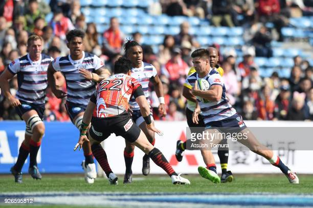 Jack Maddocks of Rebels runs with the ball during the Super Rugby round 3 match between Sunwolves and Rebels at the Prince Chichibu Memorial Ground...