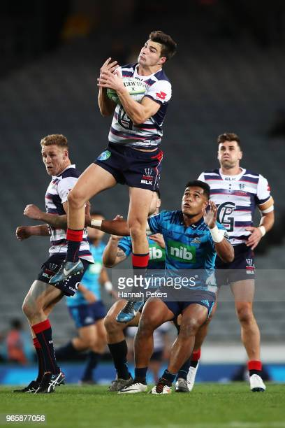 Jack Maddocks of the Rebels collects the high ball during the round 16 Super Rugby match between the Blues and the Rebels at Eden Park on June 2 2018...