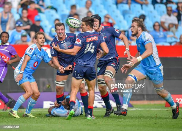 Jack Maddocks of the Rebels fumbles the ball during their Super Rugby 2018 match between the Bulls and the Rebels on April 21 2018 at the Loftus...