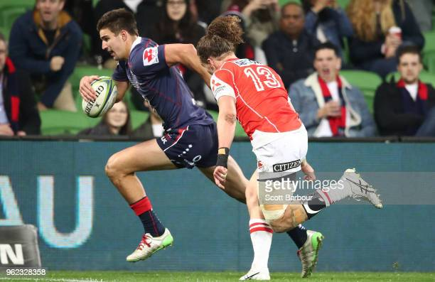 Jack Maddocks of the Rebels runs in to score his second try during the round 15 Super Rugby match between the Rebels and the Sunwolves at AAMI Park...