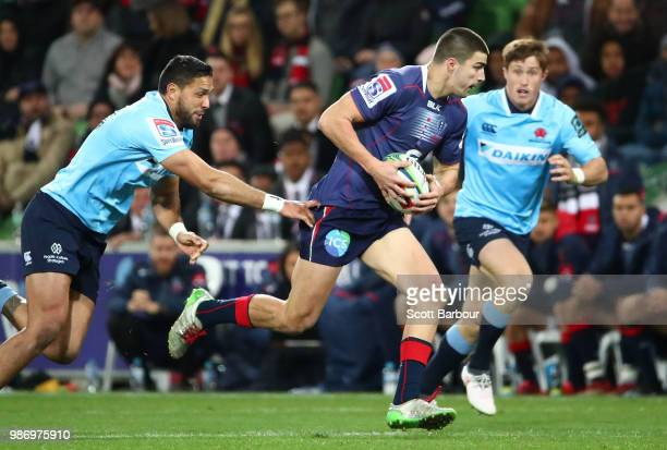 Jack Maddocks of the Rebels runs with the ball during the round 17 Super Rugby match between the Rebels and the Waratahs at AAMI Park on June 29 2018...