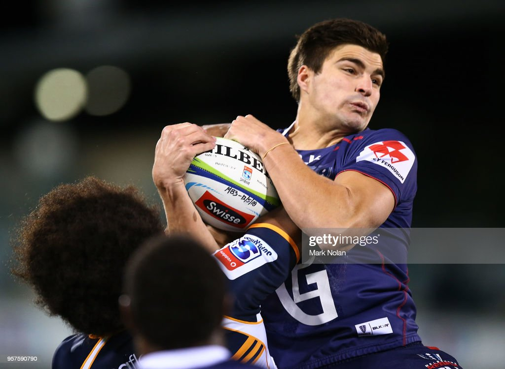 Jack Maddocks of the Rebels takes a high ball during the round 12 Super Rugby match between the Brumbies and the Rebels at GIO Stadium on May 12, 2018 in Canberra, Australia.