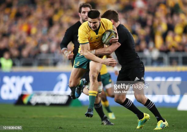 Jack Maddocks of the Wallabies is tackled during The Rugby Championship Bledisloe Cup match between the Australian Wallabies and the New Zealand All...