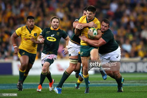 Jack Maddocks of the Wallabies is tackled during The Rugby Championship match between the Australian Wallabies and the South Africa Springboks at...