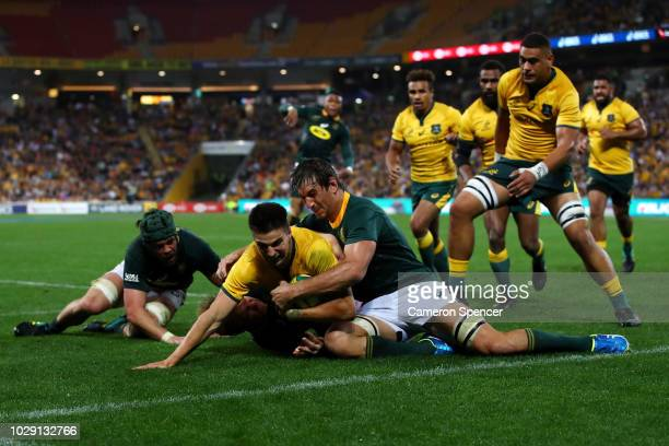 Jack Maddocks of the Wallabies is tackled short of the tryline during The Rugby Championship match between the Australian Wallabies and the South...