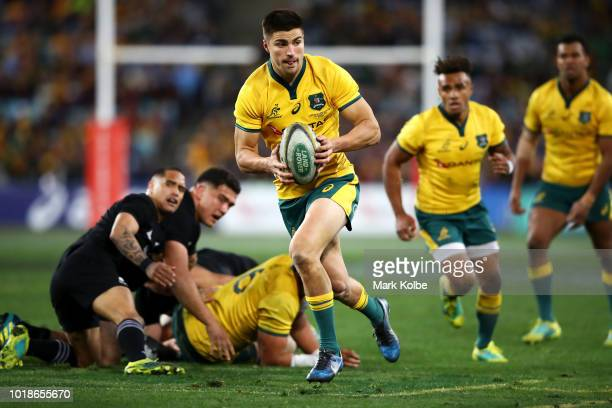 Jack Maddocks of the Wallabies runs the ball during The Rugby Championship Bledisloe Cup match between the Australian Wallabies and the New Zealand...