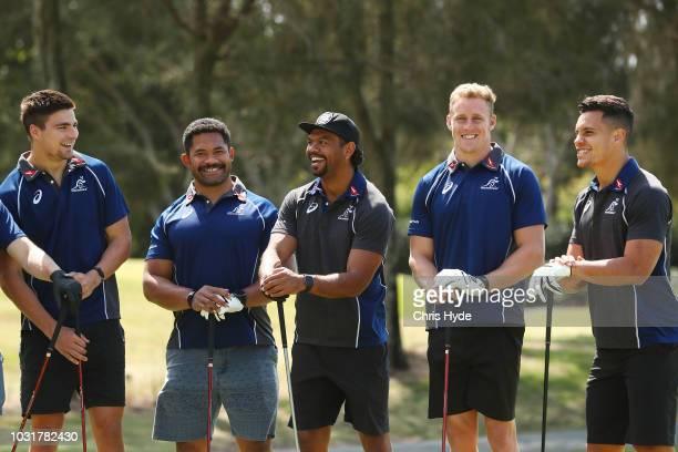 Jack Maddocks Tatafu PolotaNau Kurtley Beale Reece Hodge and Matt Toomua prepare to tee off at Royal Pines Resort on September 12 2018 in Gold Coast...