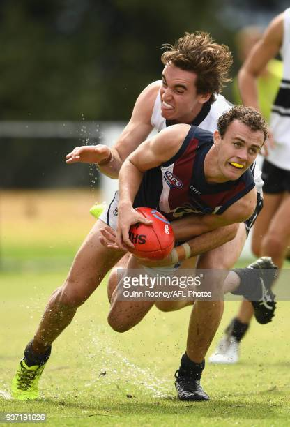 Jack Mahony of the Dragons is tackled during the round one TAC Cup match between Northern Knights and Sandringham at Frankston Oval on March 24 2018...