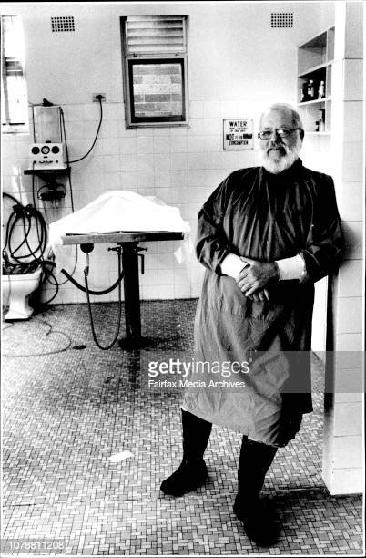 Jack Main who was present at the Autopsy of Marlyn Munroe and helped in embalming the body Picture taken in the embalming room at a funeral director...