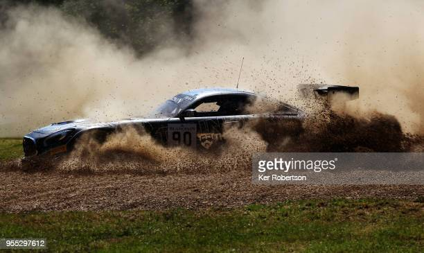 Jack Manchester driving his Akka ASP Team Mercedes GT3 spins off into the gravel at Dingle Dell Corner during race one of the Blancpain GT Series...