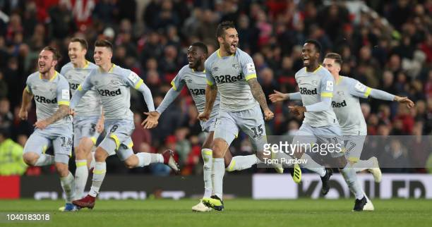 Jack Marriott, Mason Mount, Bradley Johnson and Florian Jozefzoon of Derby County celebrate after a penalty shoot out during the Carabao Cup Third...