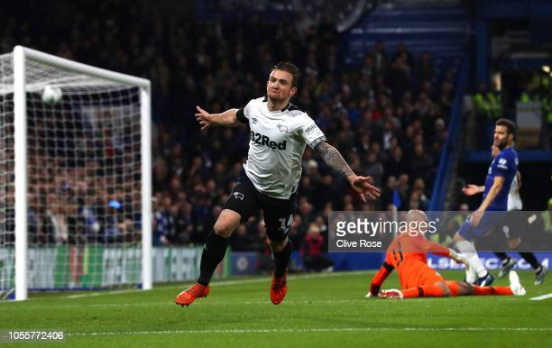 Jack Marriott of Derby County celebrates after scoring his team's first goal during the Carabao Cup Fourth Round match between Chelsea and Derby...