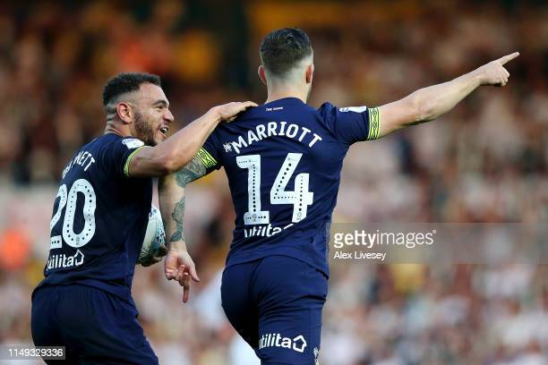 Jack Marriott of Derby County celebrates after scoring his team's first goal with Mason Bennett of Derby County during the Sky Bet Championship...