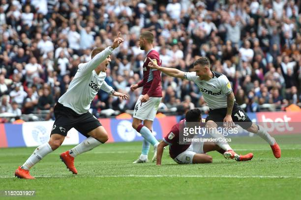 Jack Marriott of Derby County celebrates after scoring his team's first goal during the Sky Bet Championship Playoff Final match between Aston Villa...