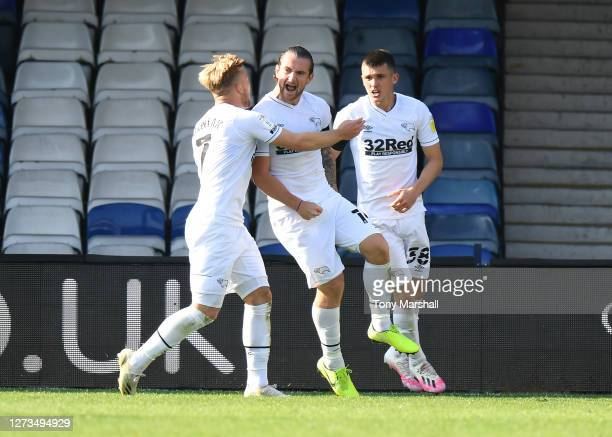 Jack Marriott of Derby County celebrates scoring their first goal during the Sky Bet Championship match between Luton Town and Derby County at...