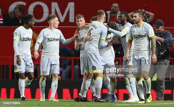 Jack Marriott of Derby County celebrates scoring their second goal during the Carabao Cup Third Round match between Manchester United and Derby...