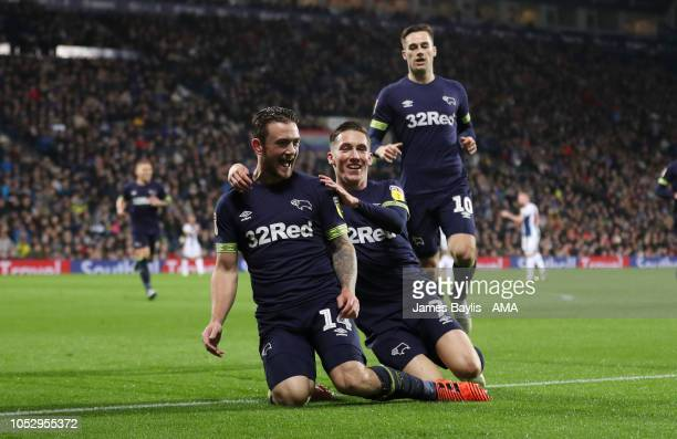 Jack Marriott of Derby County celebrates with his team mates after scoring a goal to make it 01 during the Sky Bet Championship match between West...
