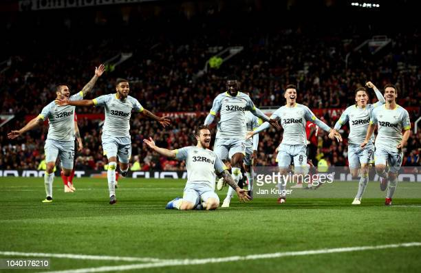 Jack Marriott of Derby County celebrates with teammates after scoring his team's second goal during the Carabao Cup Third Round match between...