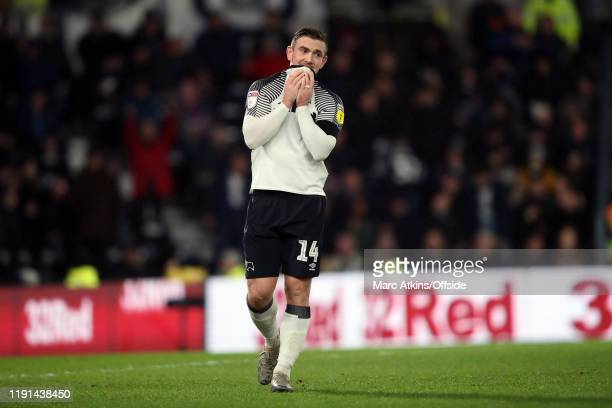 Jack Marriott of Derby County rues a missed chance during the Sky Bet Championship match between Derby County and Barnsley at Pride Park Stadium on...