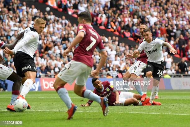 Jack Marriott of Derby County scores his team's first goal during the Sky Bet Championship Play-off Final match between Aston Villa and Derby County...