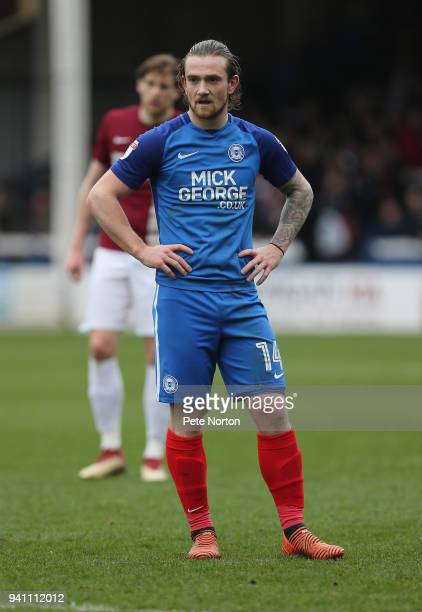 Jack Marriott of Peterborough United in action during the Sky Bet League One match between Peterborough United and Northampton Town at ABAX Stadium...