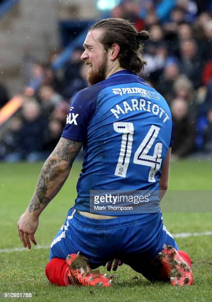Jack Marriott of Peterborough United reacts during The Emirates FA Cup Fourth Round match between Peterborough United and Leicester City at ABAX...