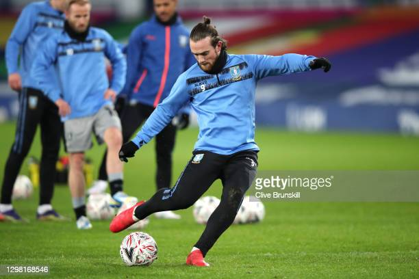 Jack Marriott of Sheffield Wednesday warms up prior to the Emirates FA Cup Fourth Round match between Everton and Sheffield Wednesday at Goodison...
