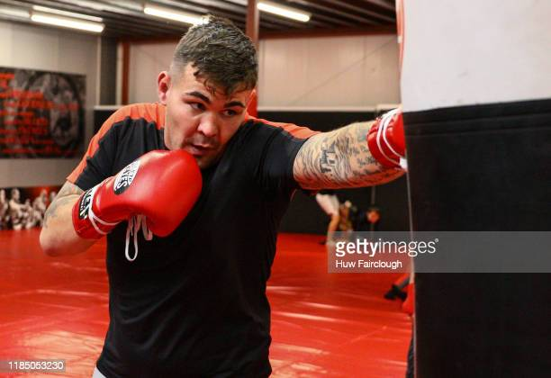 Jack Marshman working the striking pads at the opening of Shore Mixed Martial Arts on November 2 2019 in Abertillery Wales