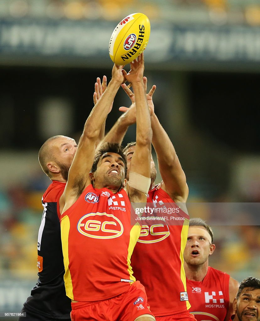 Jack Martin of the Suns attempts a mark during the round eight AFL match between the Gold Coast Suns and the Melbourne Demons at The Gabba on May 12, 2018 in Brisbane, Australia.