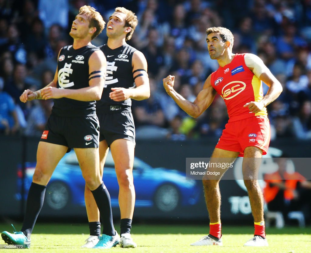 Jack Martin of the Suns celebrates a goal during the round two AFL match between the Carlton Blues and the Gold Coast Suns at Etihad Stadium on March 31, 2018 in Melbourne, Australia.