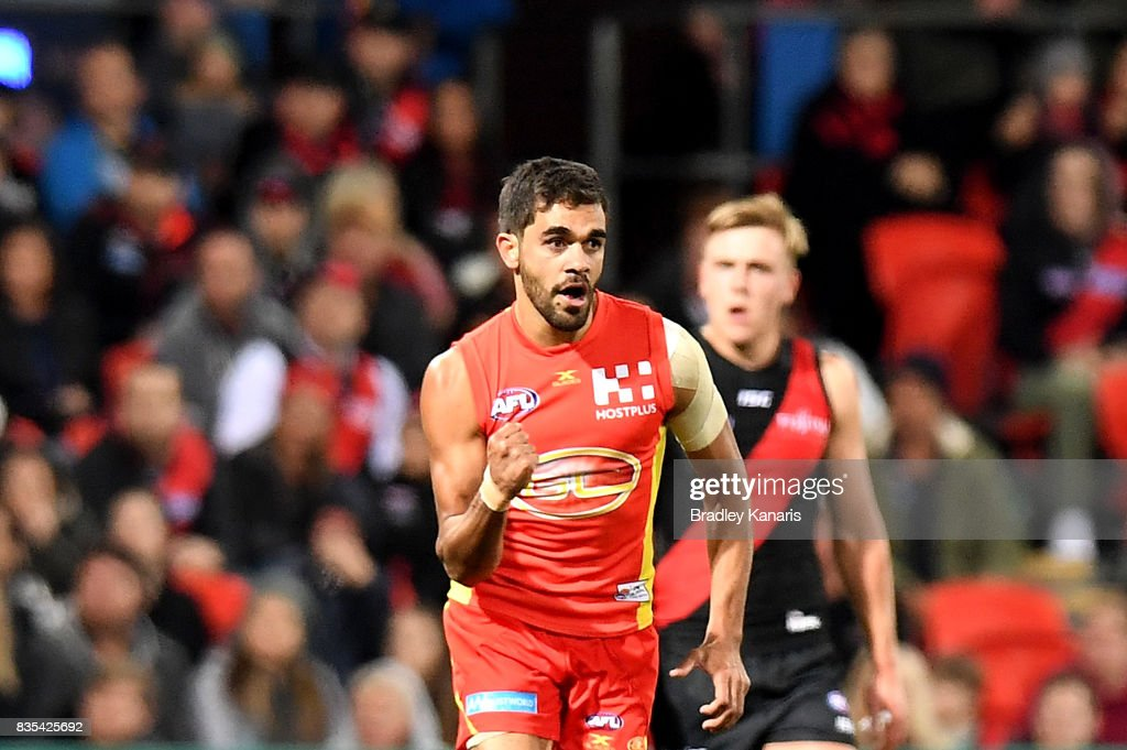 Jack Martin of the Suns celebrates kicking a goal during the round 22 AFL match between the Gold Coast Suns and the Essendon Bombers at Metricon Stadium on August 19, 2017 in Gold Coast, Australia.