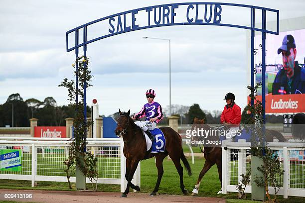 Jack Martin returns to the mounting yard on Moss 'n' Dale after winning No 1 Car Wash BM78 Handicap at Sale Racecourse on September 21 2016 in Sale...