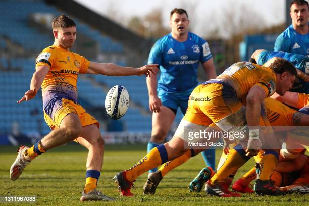 Jack Maunder of Exeter kicks clear from the scrum during the Heineken Champions Cup Quarter Final match between Exeter Chiefs and Leinster at Sandy...
