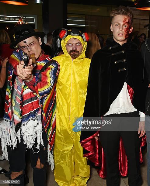 Jack Maynard Conor Maynard and Caspar Lee attend Hallowzeen at M Restaurant on October 30 2015 in London England