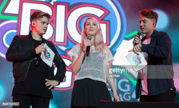 Jack Maynard Noodlerella and Roman Kemp on stage at Girlguiding UK's Big Gig at SSE Arena on October 7 2017 in London England