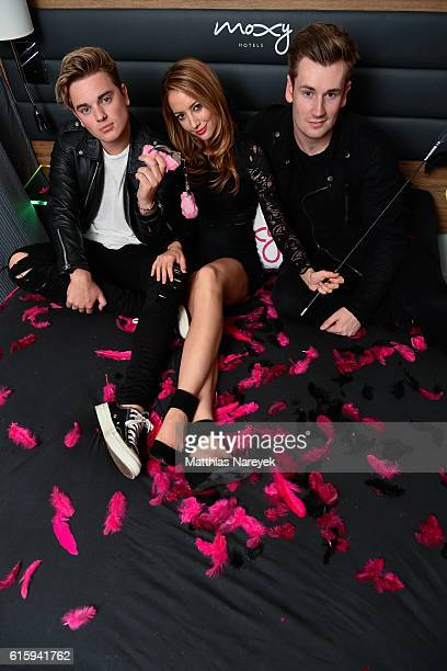 Jack Maynard, Oli White and Taryn Southern attend the Moxy Berlin Hotel Opening Party on October 20, 2016 in Berlin, Germany.