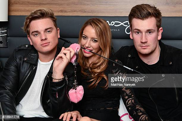 Jack Maynard, Taryn Southern and Oli White attend the Moxy Berlin Hotel Opening Party on October 20, 2016 in Berlin, Germany.