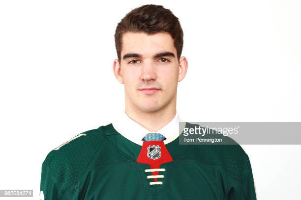 Jack McBain poses after being selected 63rd overall by the Minnesota Wild during the 2018 NHL Draft at American Airlines Center on June 23 2018 in...
